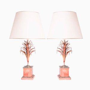 Lámparas vintage de níquel plateado y cristal. Juego de 2