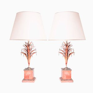 Versilberte Nickel & Bergkristall Vintage Lampen, 2er Set