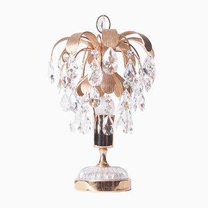 Lámpara de mesa de latón y cristal de Palwa, años 60