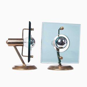 Lámparas de mesa de latón y vidrio de colores, años 50. Juego de 2