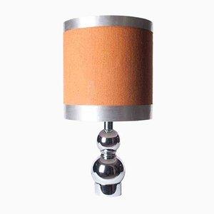 Lámpara de cromo y aluminio con pantalla origina, años 60
