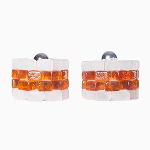 White & Amber Glass Cube Table Lamps, 1960s, Set of 2