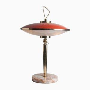 Lampe de Table en Laiton, Verre & Marbre, 1950s