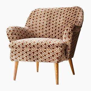 Vintage Italian Beige Velvet Armchair