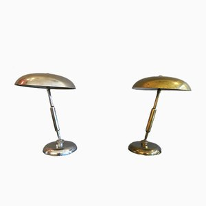 Mid-Century Brass & Nickel Table Lamps, Set of 2