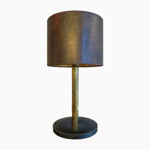 French Stitched Leather and Brass Table Lamp