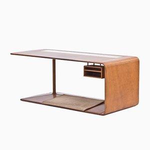Maßangefertiger Schreibtisch mit Lederbezug von NK, 1965
