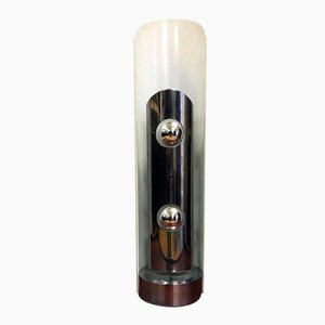 Lámpara de mesa de cromo y metal blanco de Enrico Tronconi, años 60