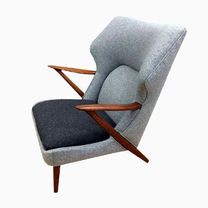 Danish Teak & Wool Lounge Chair by Kurt Olsen for Slagelse Mobelvaerk, 1955