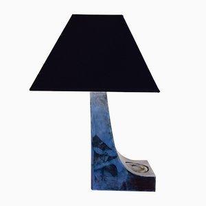 Lámpara de mesa geométrica en azul