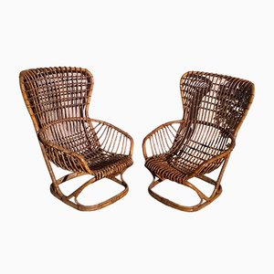 Rattan Armchairs by Tito Agnoli for Pierantonio Bonacina, 1959, Set of 2