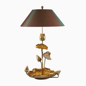 Lampe de Table Lotus Hollywood Regency en Laiton, 1950s