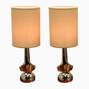 Verchromte Italienische Tischlampen, 1930er, 2er Set