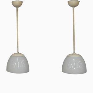 Lámparas colgantes de vidrio opalino de Gispen, años 30. Juego de 2
