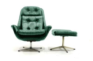 Customizable Lounge Chair and Ottoman Set by H.W. Klein for Bramin, 1970s in Teal
