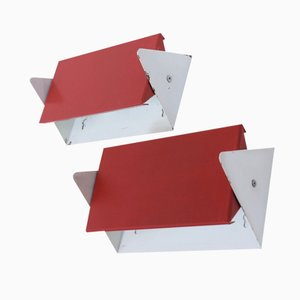 Mid-Century Red Model 7013 Wall Lamps by J.J.M. Hoogervorst for Anvia, Set of 2