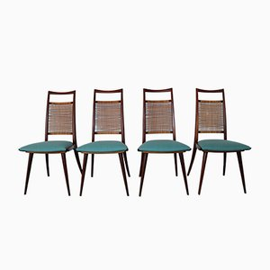 Dänische Teak Stühle mit Gewebten Rückenlehnen, 1960er, 4er Set