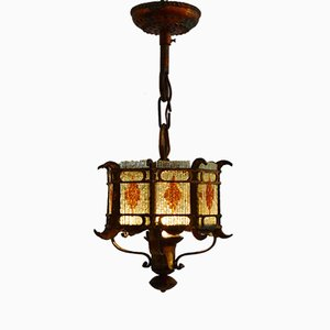 Italian Brustalist Cut Glass & Gilt Wrought Iron Lantern Pendant, 1960s