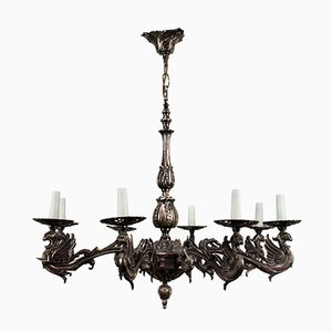 French Silvered Bronze Gothic Style Chandelier, 1900s