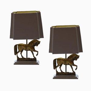 Lampes Antiques en Laiton Solide, Set de 2