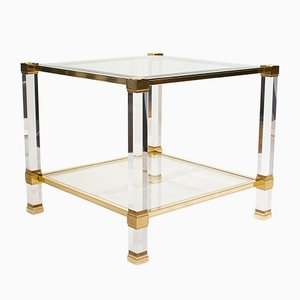 Lucite and Brass Side Table by Pierre Vandel, 1970s