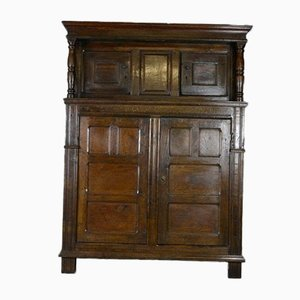 Antique Rustic Oak Court Cupboard