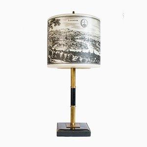 Tischlampe mit Zeichnungen von Spa und Liège, 1970er
