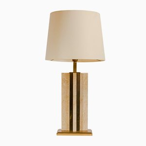 French Travertine and Brass Table Lamp, 1970s