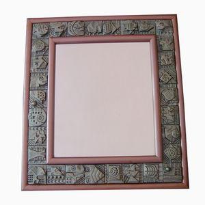 Specchio vintage in mattonelle di terracotta di Ron Hitchins, anni '60