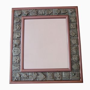 Vintage Terracotta Tile Mirror by Ron Hitchins, 1960s