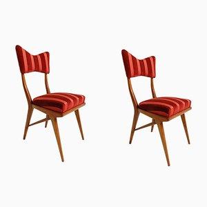 Nussholz Vintage Esszimmerstühle, 2er Set