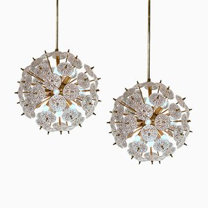 Sputnik Crystal Discs Ceiling Lights from Val Saint Lambert, 1970s, Set of 2