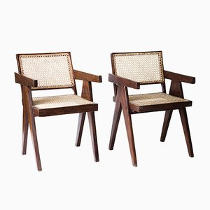Office Cane Armchairs by Pierre Jeanneret, 1950s, Set of 2