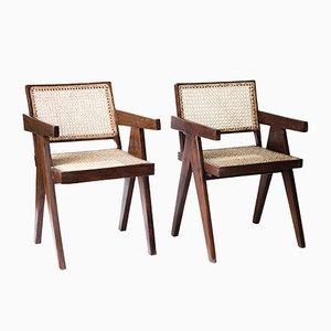 Rohrgeflecht Lehnstühle von Pierre Jeanneret, 1950er, 2er Set