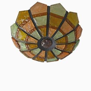 Lampada da soffitto in ferro e vetro, anni '50