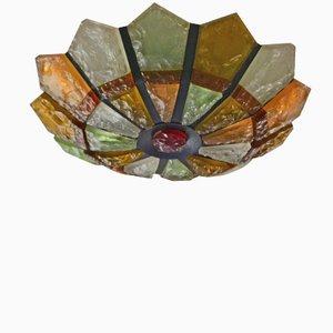 Lámpara de techo pequeña de hierro y vidrio, años 50