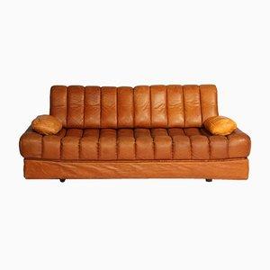 Sofá cama DS 85 vintage de cuero marrón de de Sede, años 60