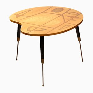 Palette-Shaped Satinwood Atomic Table, 1950s