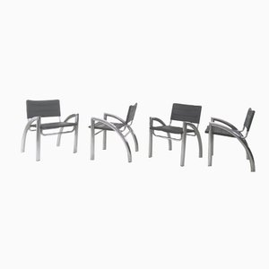 Leather and Chromed Metal Chairs, 1970s, Set of 4