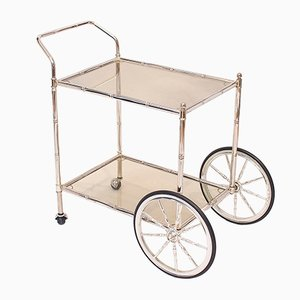 Faux Bamboo Chrome and Glass Bar Cart, 1960s