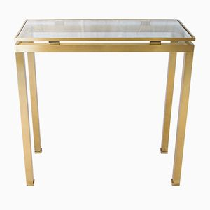 Vintage Golden Brushed Steel Console by Guy Lefèvre for Maison Jansen