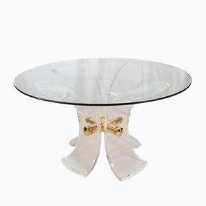 Mesa de comedor Lys vintage de metacrilato y acero dorado