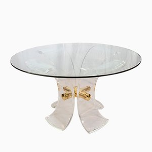 Table Lys de Salle à Manger en Lucite et en Acier Doré Vintage