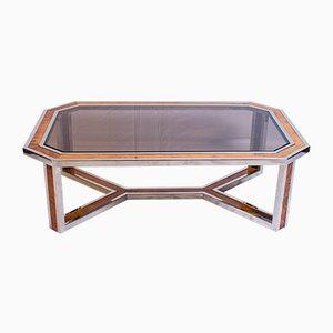 Tavolino da caffè in legno e placcata in cromo, anni '70