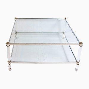 Tavolino da caffè vintage a due livelli in lucite, ottone e alluminio
