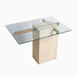Table d'Appoint Vintage en Travertine