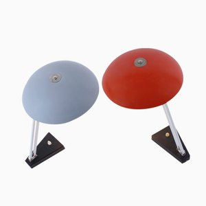 Adjustable Saucer Desk Lights in Red & Grey by Hala Busquet