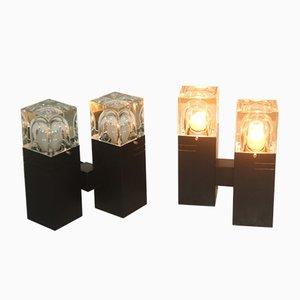 Lámparas de mesa vintage cuadradas de cristal de Murano de Gaetano Sciolari, años 70. Juego de 4
