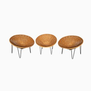 Easy Chairs en Rotin, France, 1950s, Set de 3