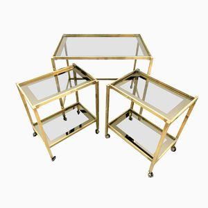 Italian Mid-Century Brass Nesting Tables, Set of 3